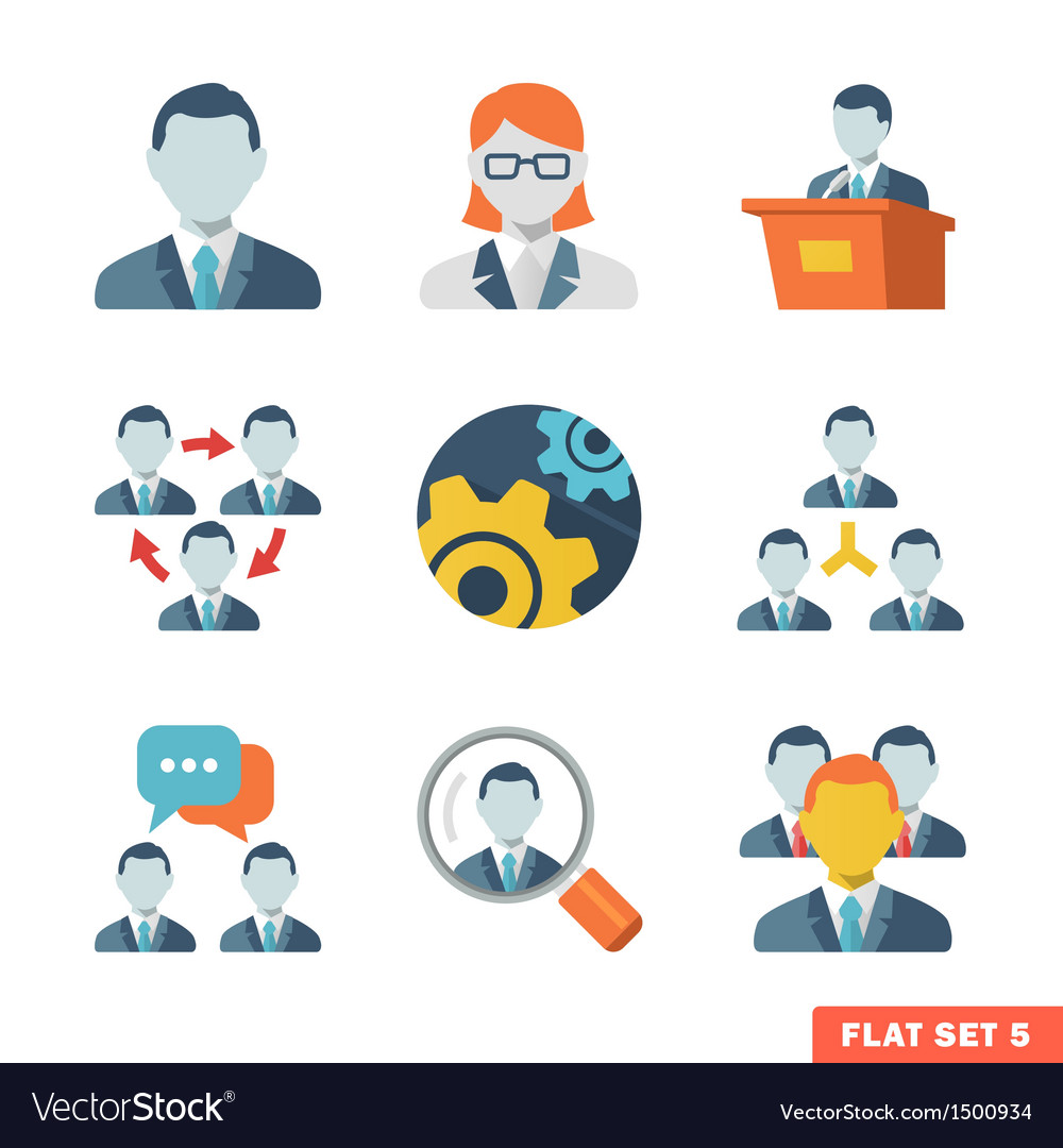 Business people flat icons vector | Price: 3 Credit (USD $3)