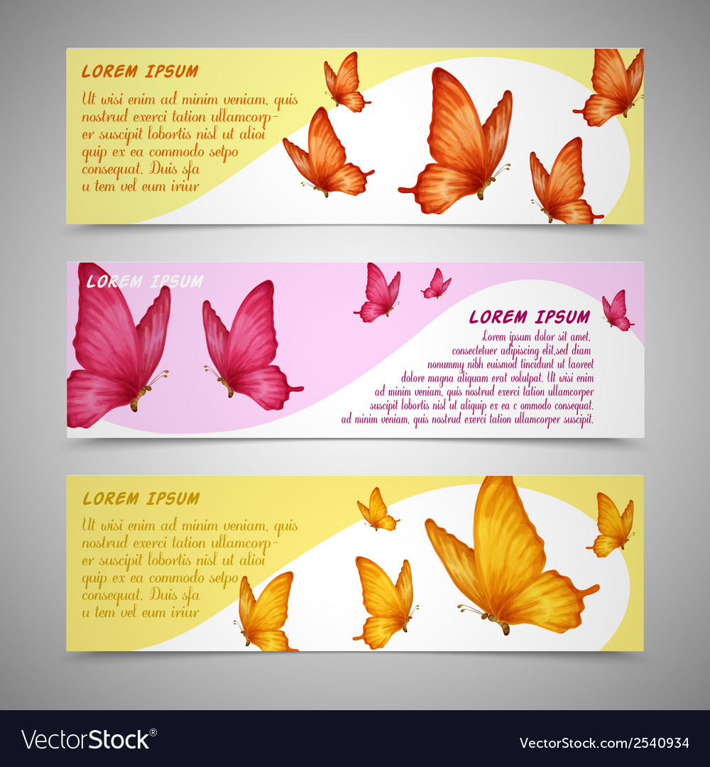 Butterflies banners set vector | Price: 1 Credit (USD $1)