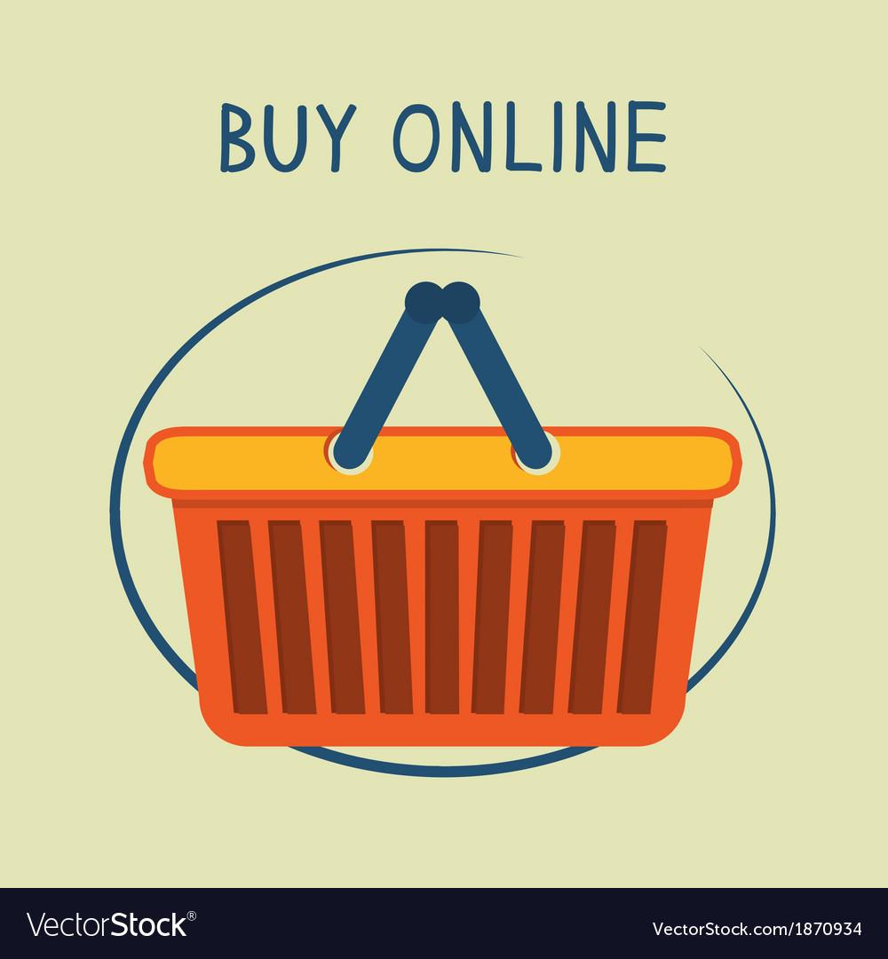 Buy online shopping basket emblem vector   Price: 1 Credit (USD $1)