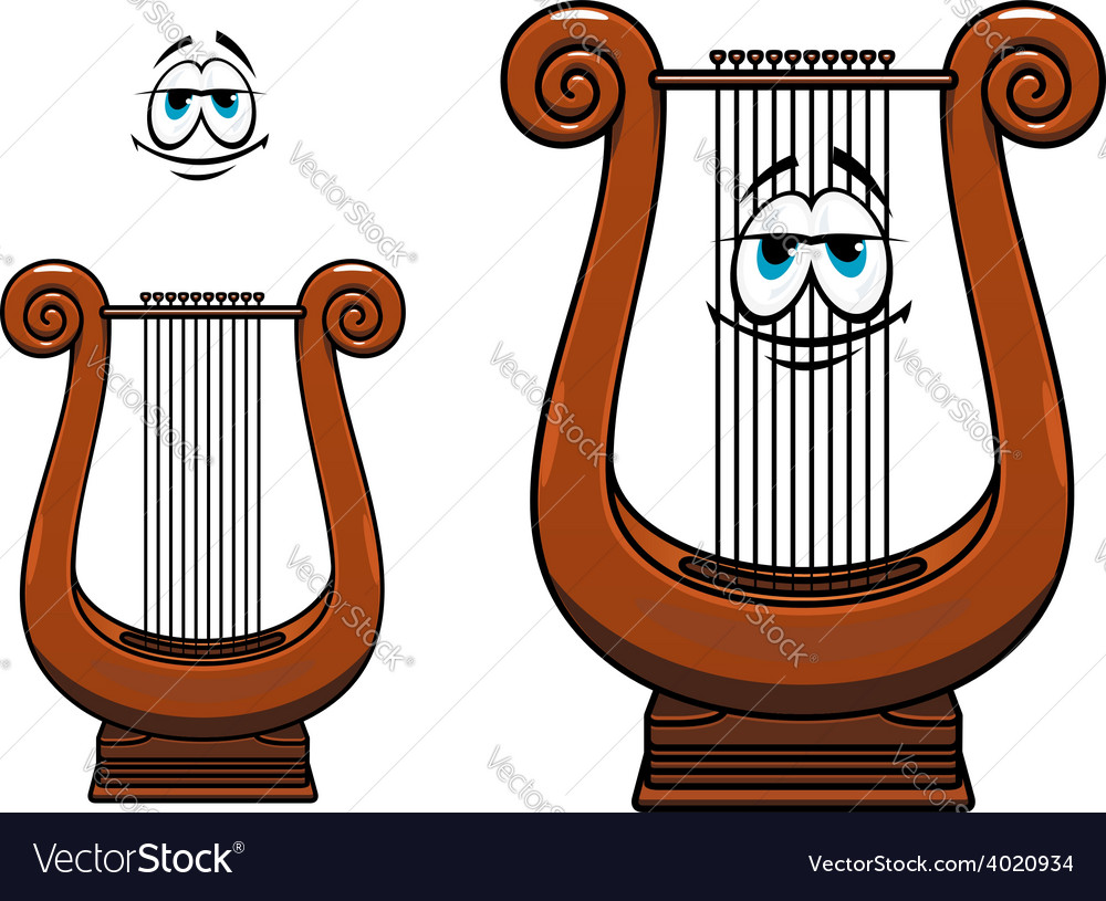 Cartoon greece musical lyre character vector
