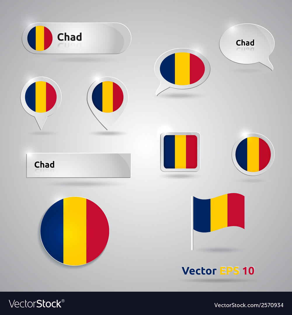 Chad icon set of flags vector | Price: 1 Credit (USD $1)