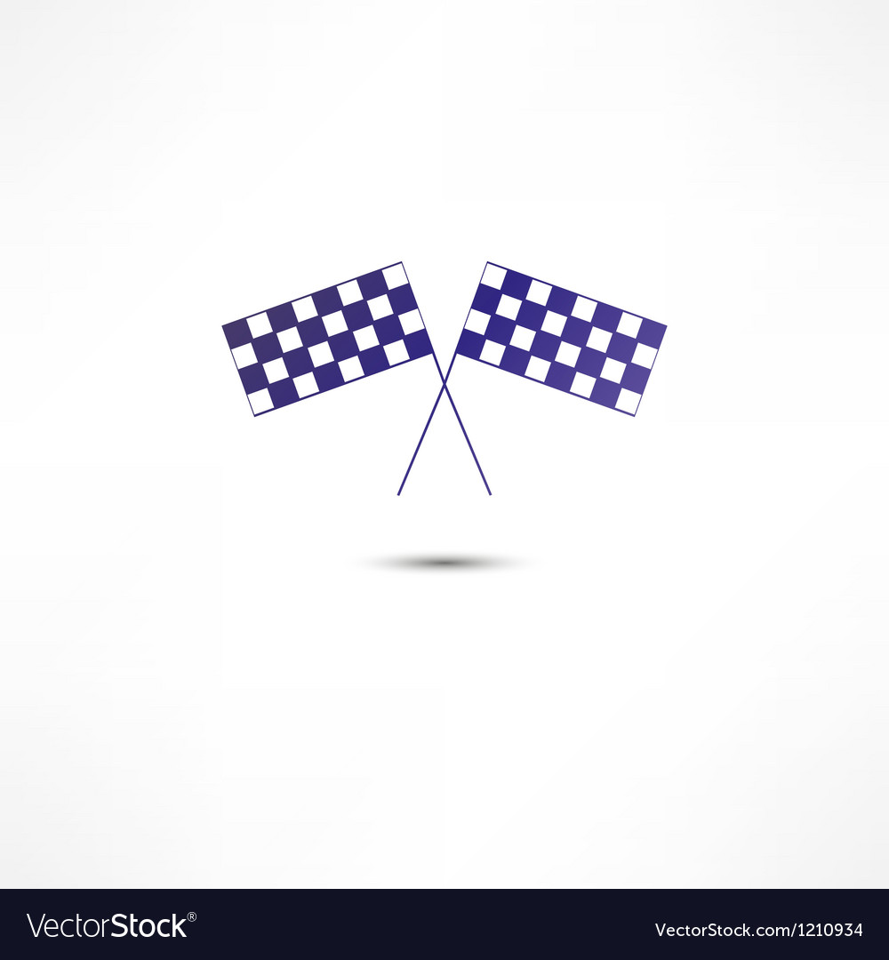 Crossed racing flags icon vector | Price: 1 Credit (USD $1)