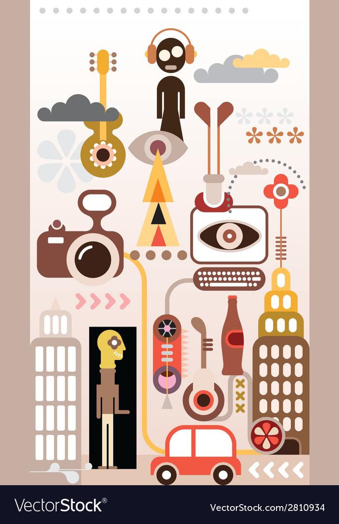 Fantastic cityscape vector | Price: 1 Credit (USD $1)
