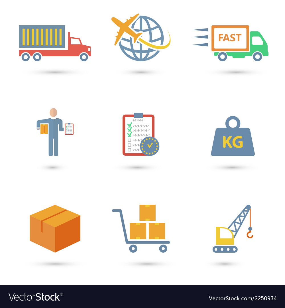 Logistic icons flat vector | Price: 1 Credit (USD $1)