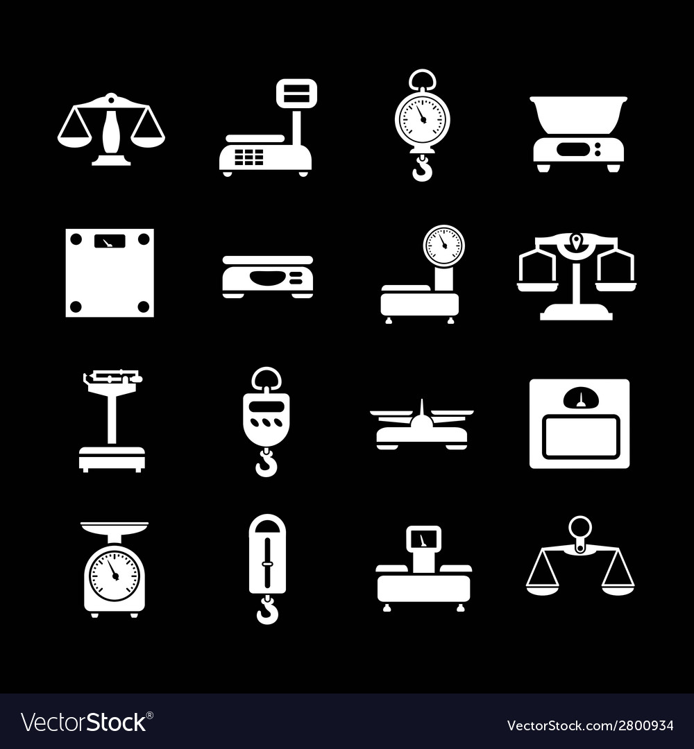 Set icons of weights and scales vector | Price: 1 Credit (USD $1)