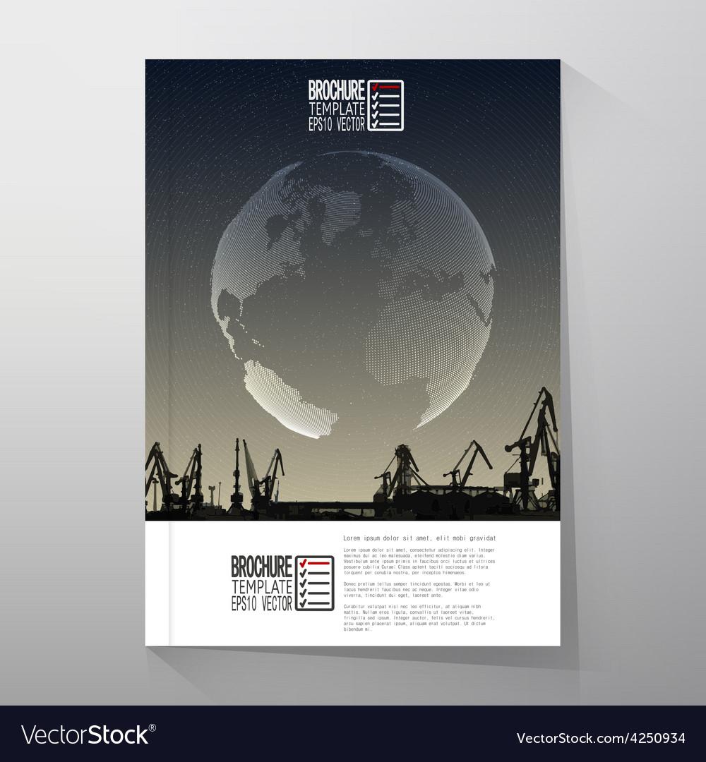 Shipyard harbor skyline night design world vector | Price: 1 Credit (USD $1)