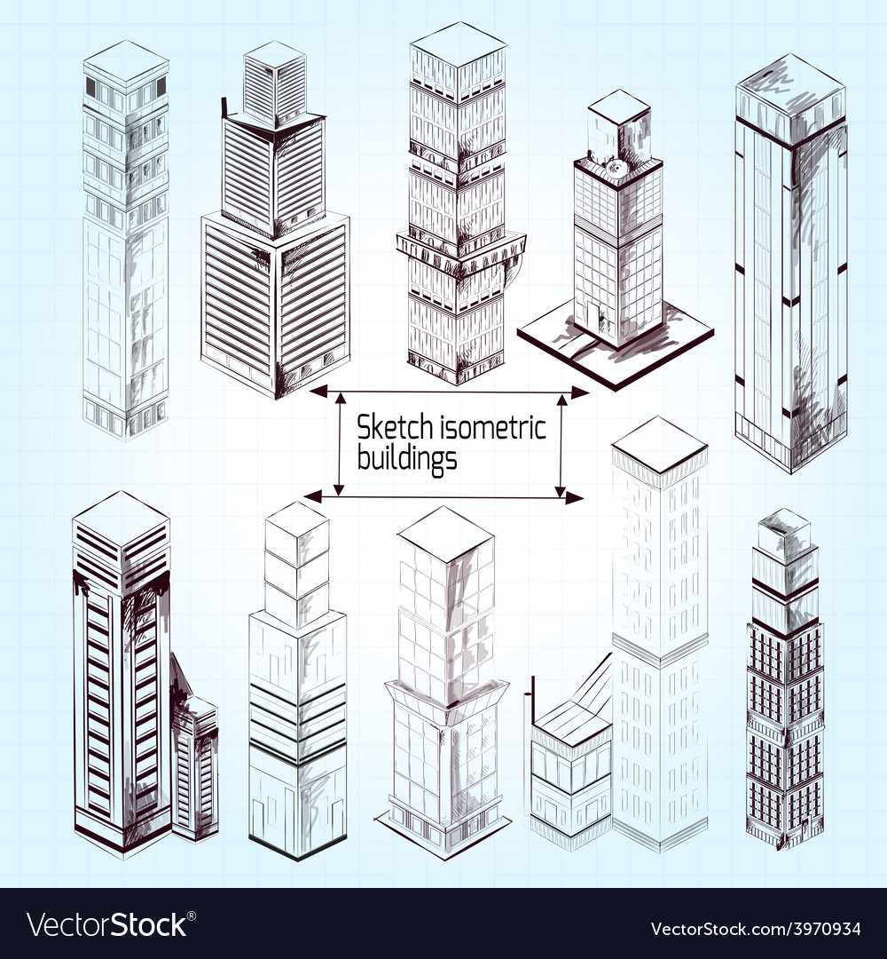 Sketch isometric buildings vector | Price: 1 Credit (USD $1)