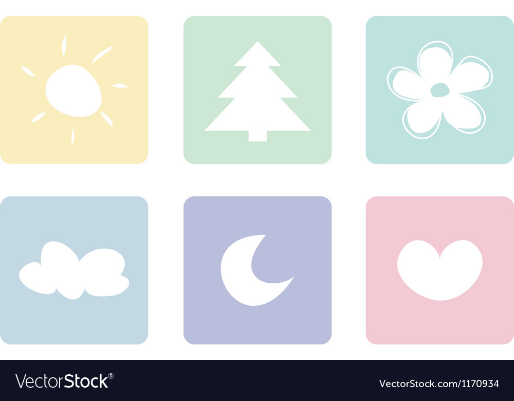 Sweet pastel icons buttons or logo set vector | Price: 1 Credit (USD $1)