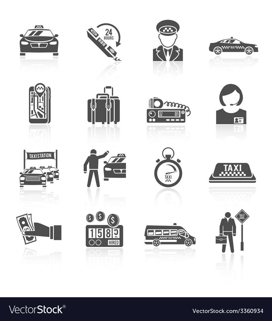 Taxi icons black set vector | Price: 1 Credit (USD $1)