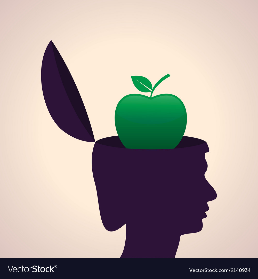 Thinking concept-human head with apple vector | Price: 1 Credit (USD $1)