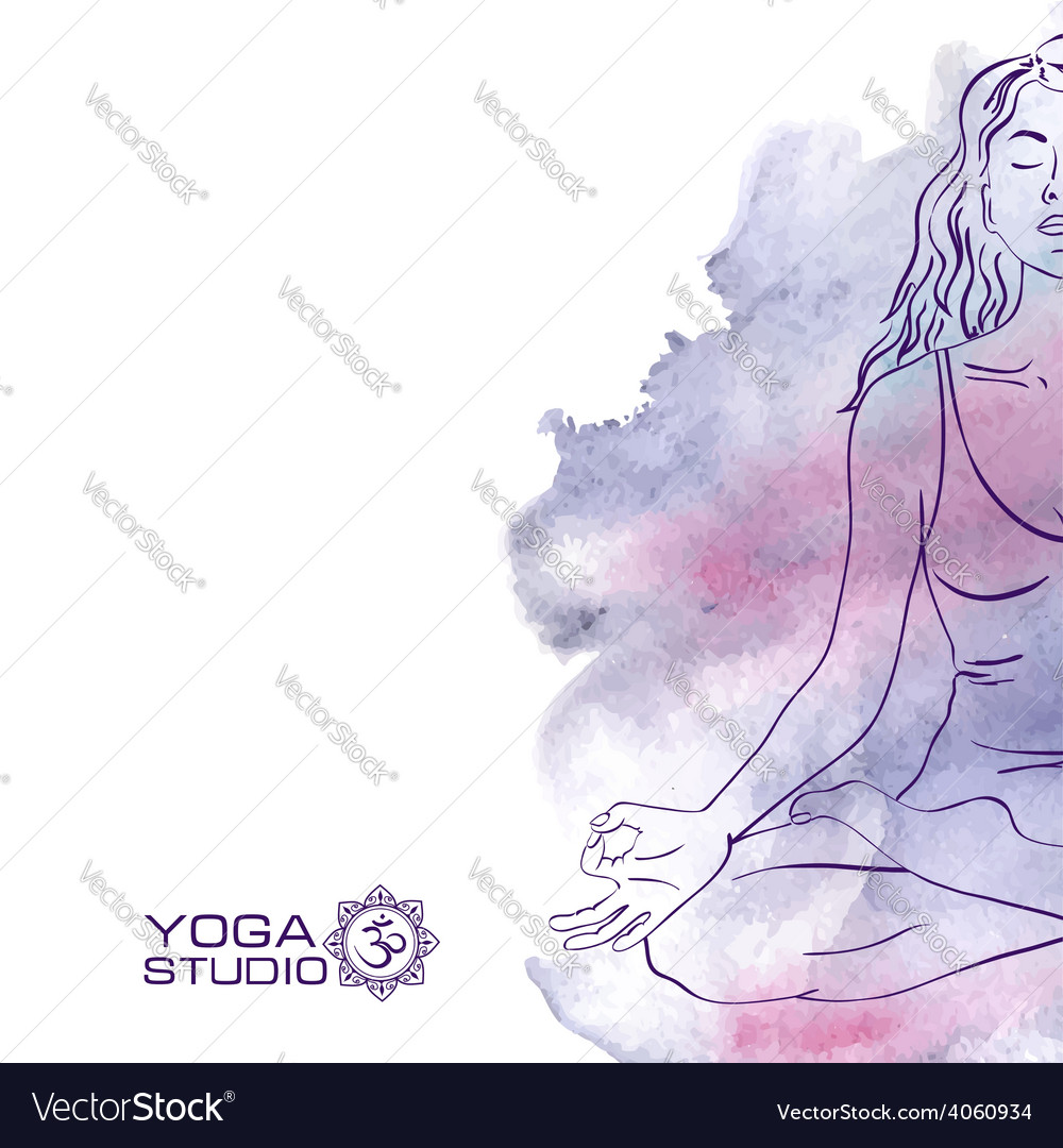 Woman sitting in the lotus yoga pose vector | Price: 1 Credit (USD $1)