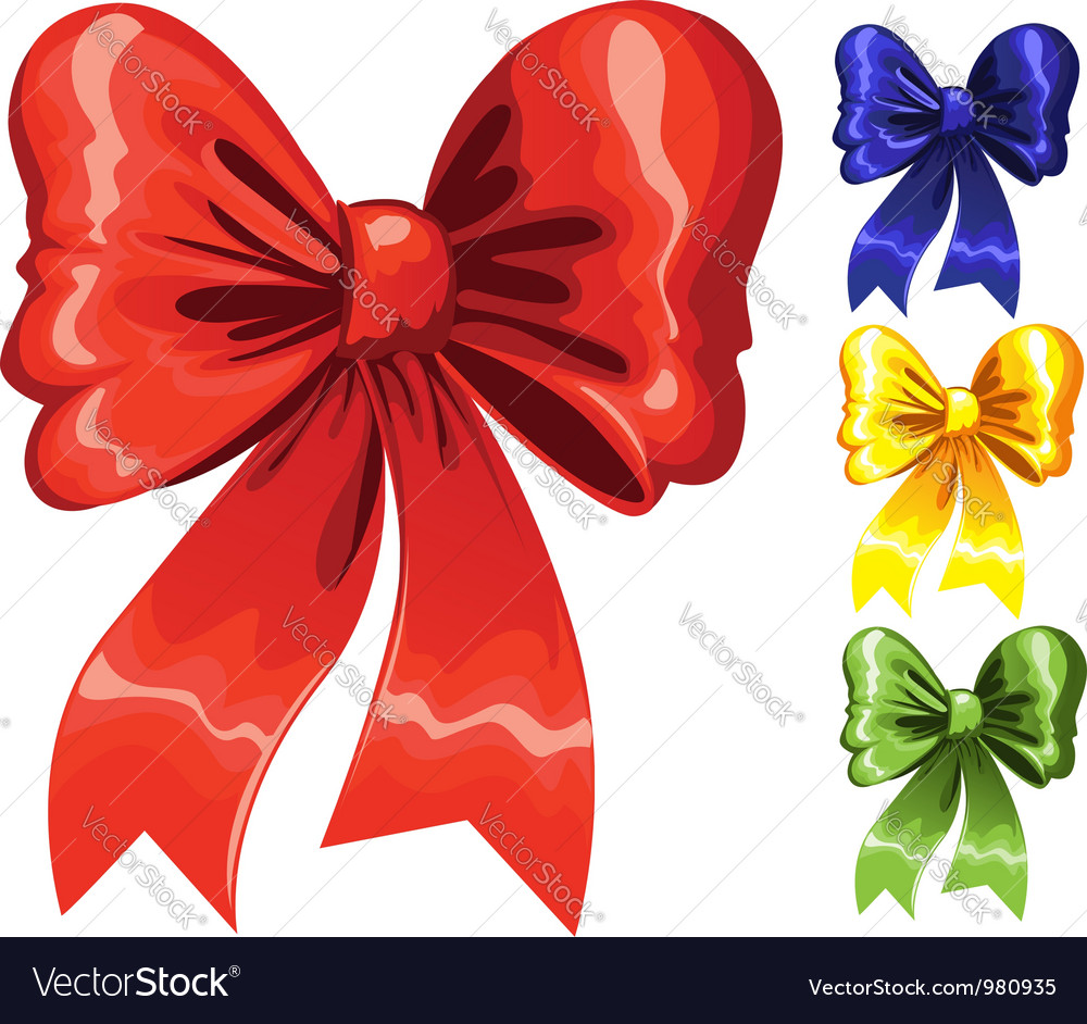 Color festive christmas bow red green blue yellow vector | Price: 1 Credit (USD $1)