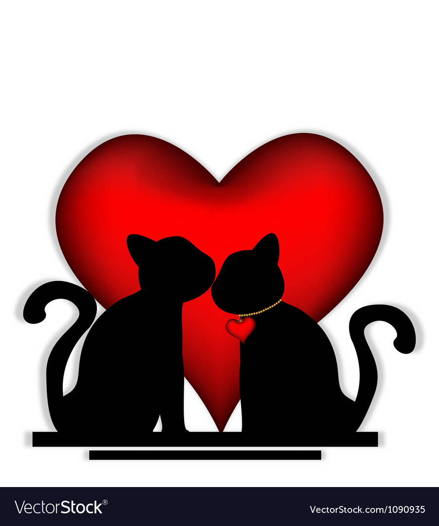 Cute cats in love vector | Price: 1 Credit (USD $1)
