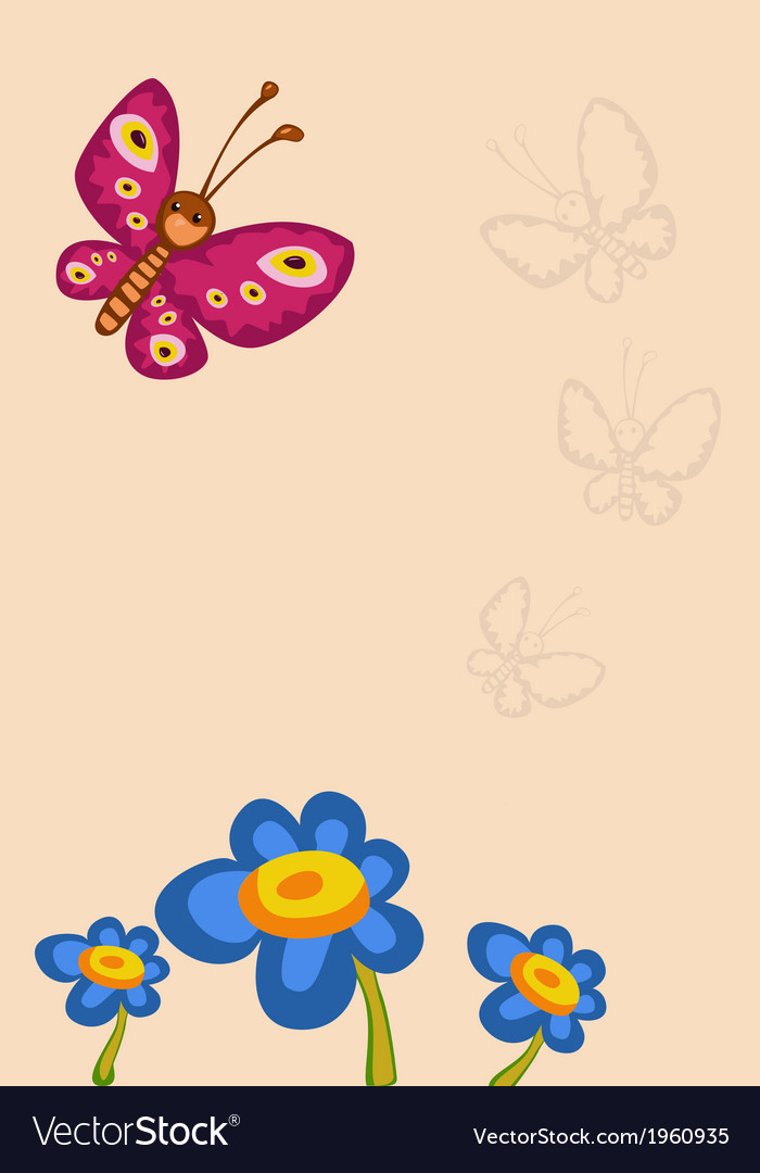 Frame with flower and butterfly vector | Price: 1 Credit (USD $1)