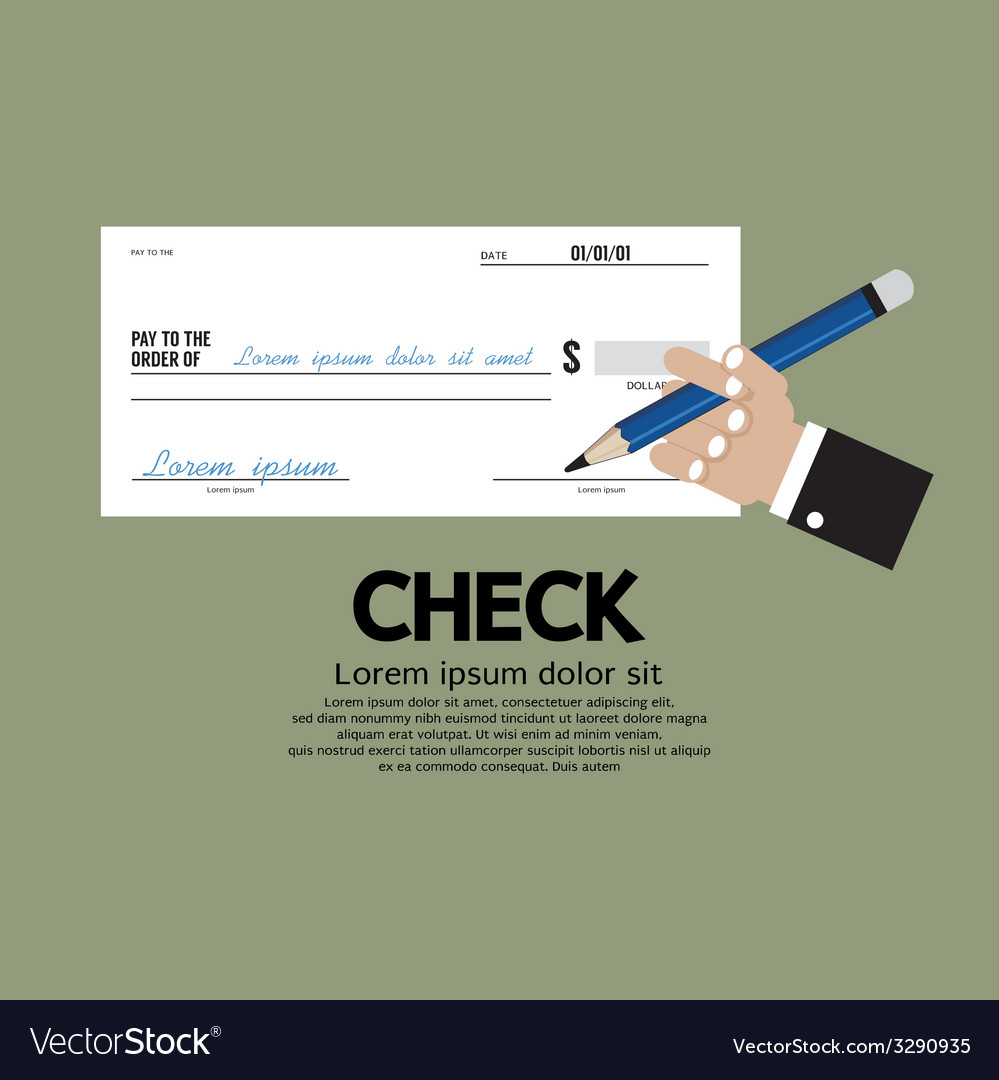 Hand holding a pencil with check vector | Price: 1 Credit (USD $1)