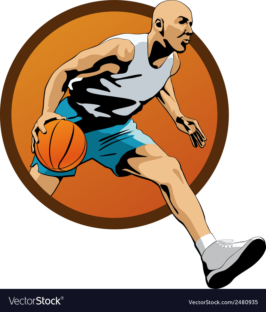 Professional basketball player dribbling in jump vector | Price: 1 Credit (USD $1)