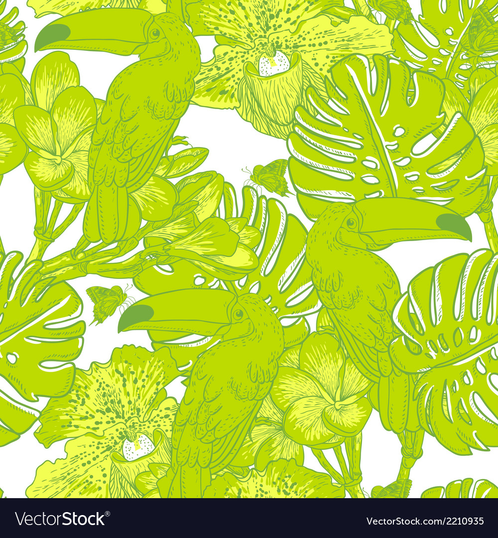 Seamless green pattern with flowers and toucan vector | Price: 1 Credit (USD $1)