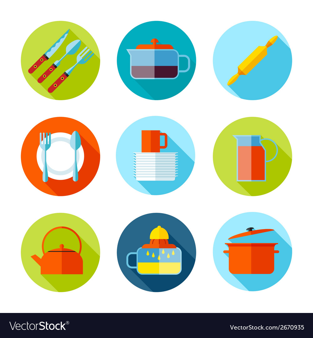 Set of flat cutlery and dishes icons vector | Price: 1 Credit (USD $1)