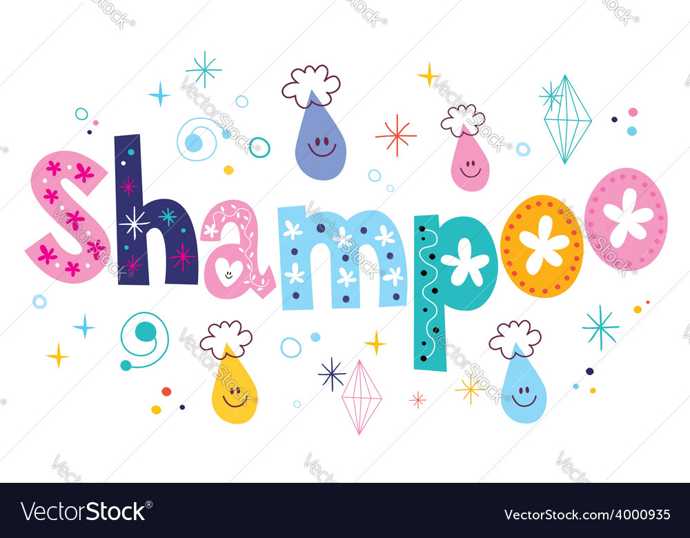 Shampoo decorative lettering type design vector | Price: 1 Credit (USD $1)