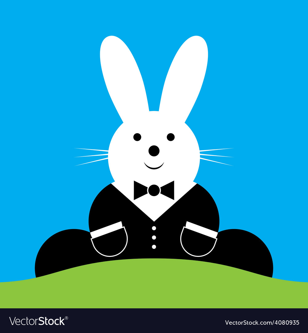 Sitting smiling easter bunny with suit vector | Price: 1 Credit (USD $1)