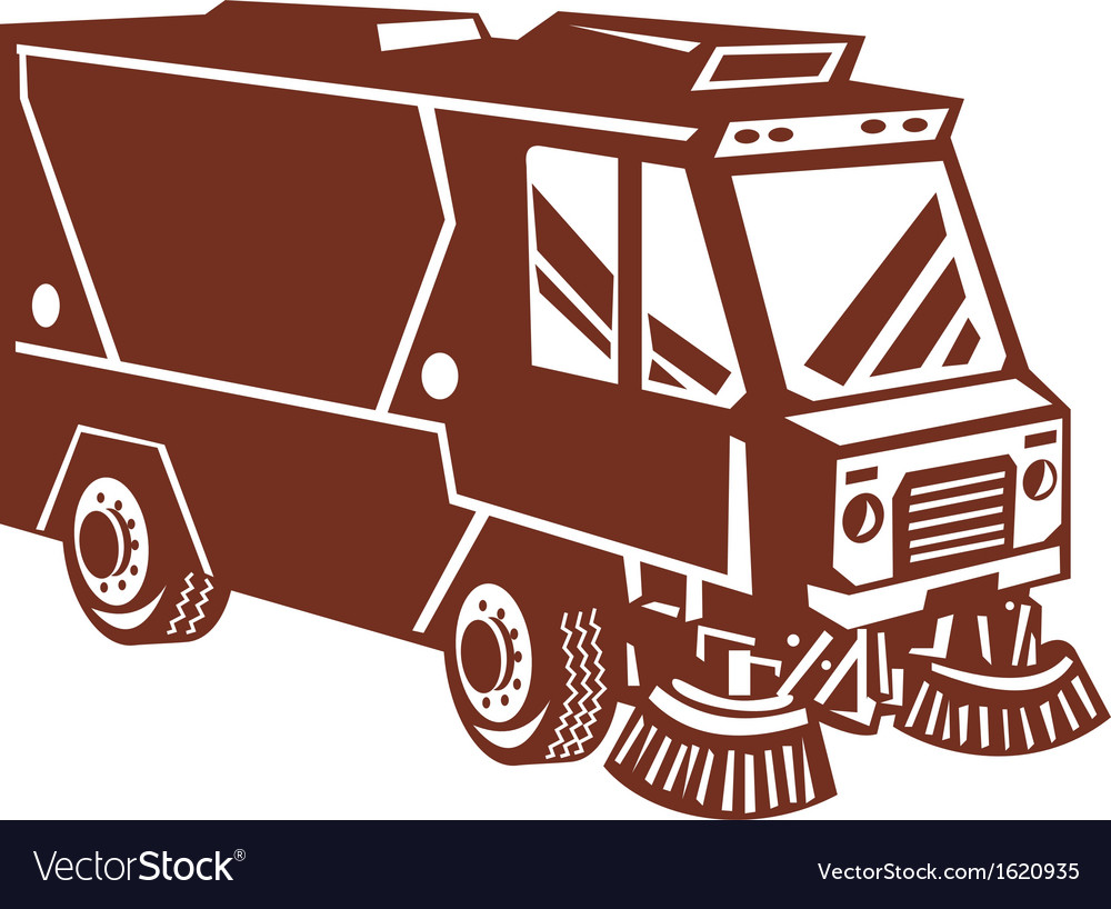 Street sweeper cleaner truck isolated vector | Price: 1 Credit (USD $1)