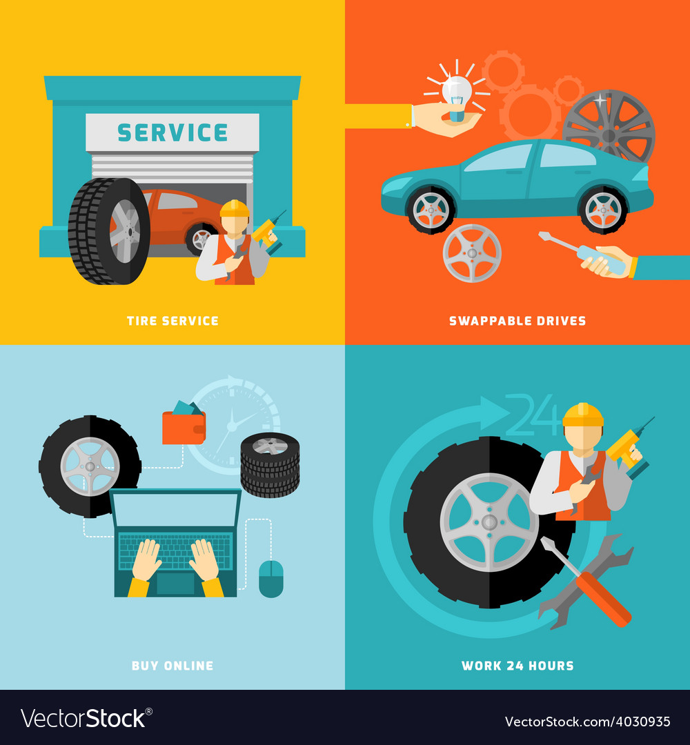 Tire service set vector | Price: 1 Credit (USD $1)