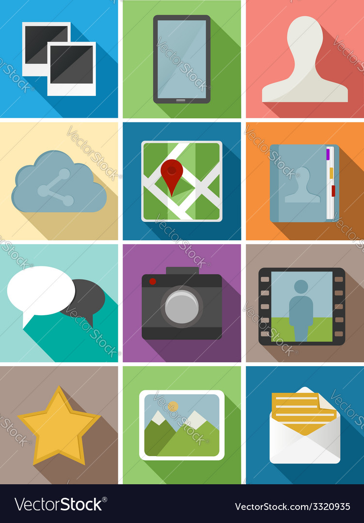 Web flat icons set design vector | Price: 1 Credit (USD $1)