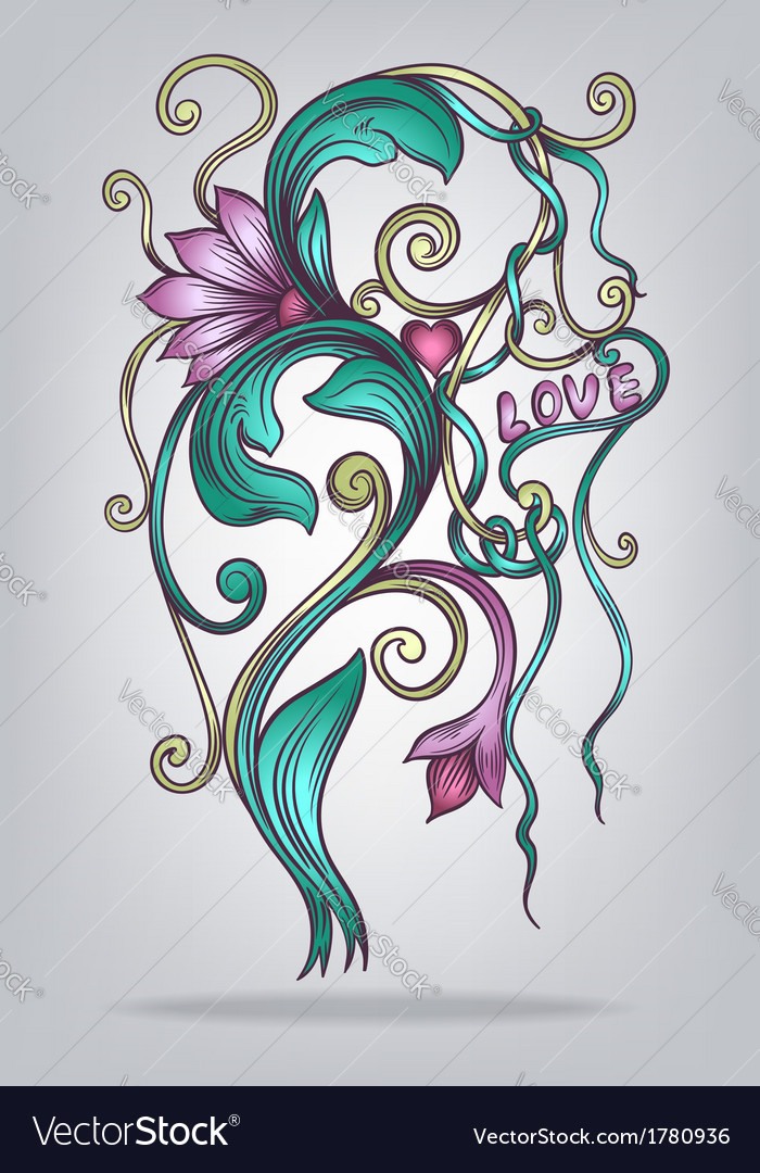 Abstract decorative flower vector | Price: 1 Credit (USD $1)