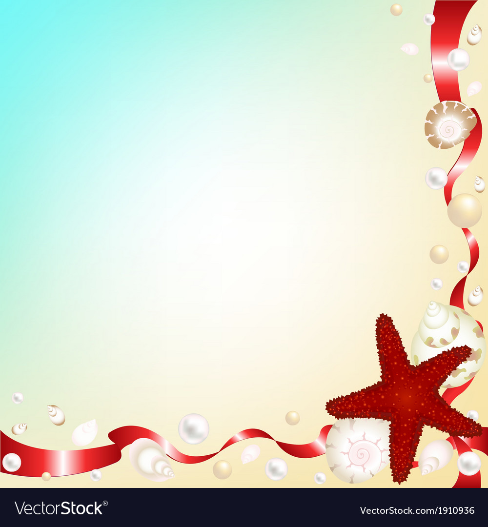 Background with shells and red ribbons vector   Price: 1 Credit (USD $1)