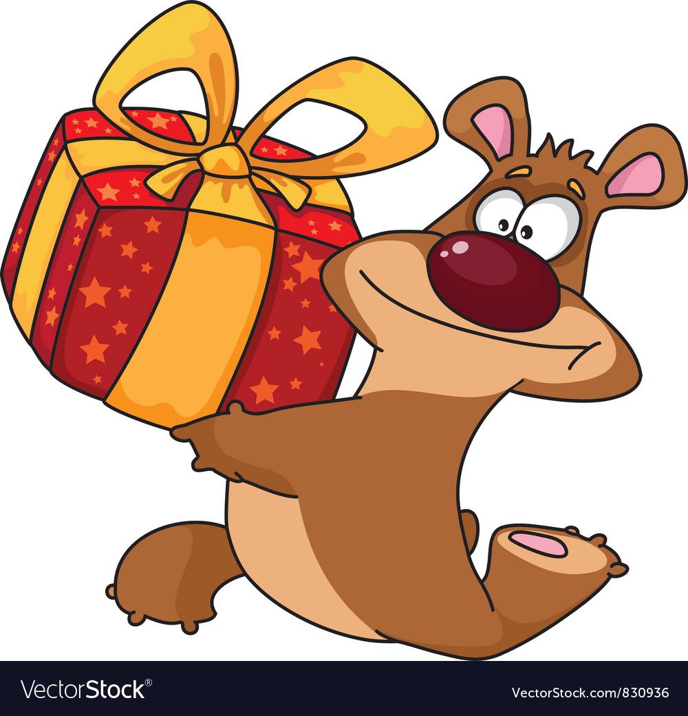 Bear and gift box vector | Price: 3 Credit (USD $3)