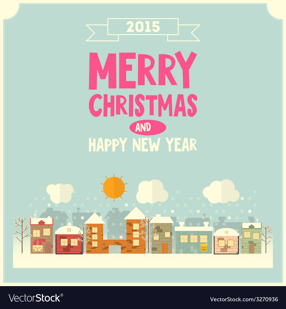 Christmas little town vector | Price: 1 Credit (USD $1)