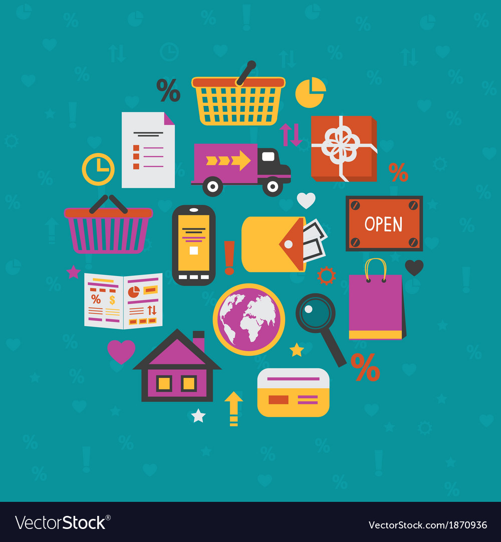 Internet shopping icons set vector | Price: 1 Credit (USD $1)