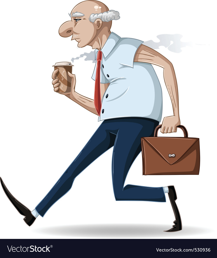 Old businessman walks with briefcase and coffee vector