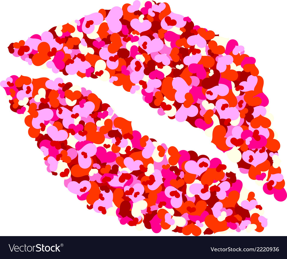One kiss for valentines day vector | Price: 1 Credit (USD $1)