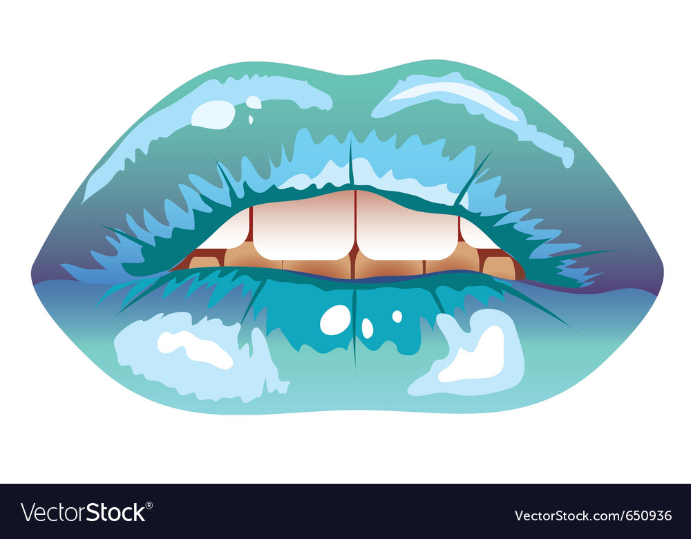 Sexy blue womans lips frozen vector | Price: 1 Credit (USD $1)