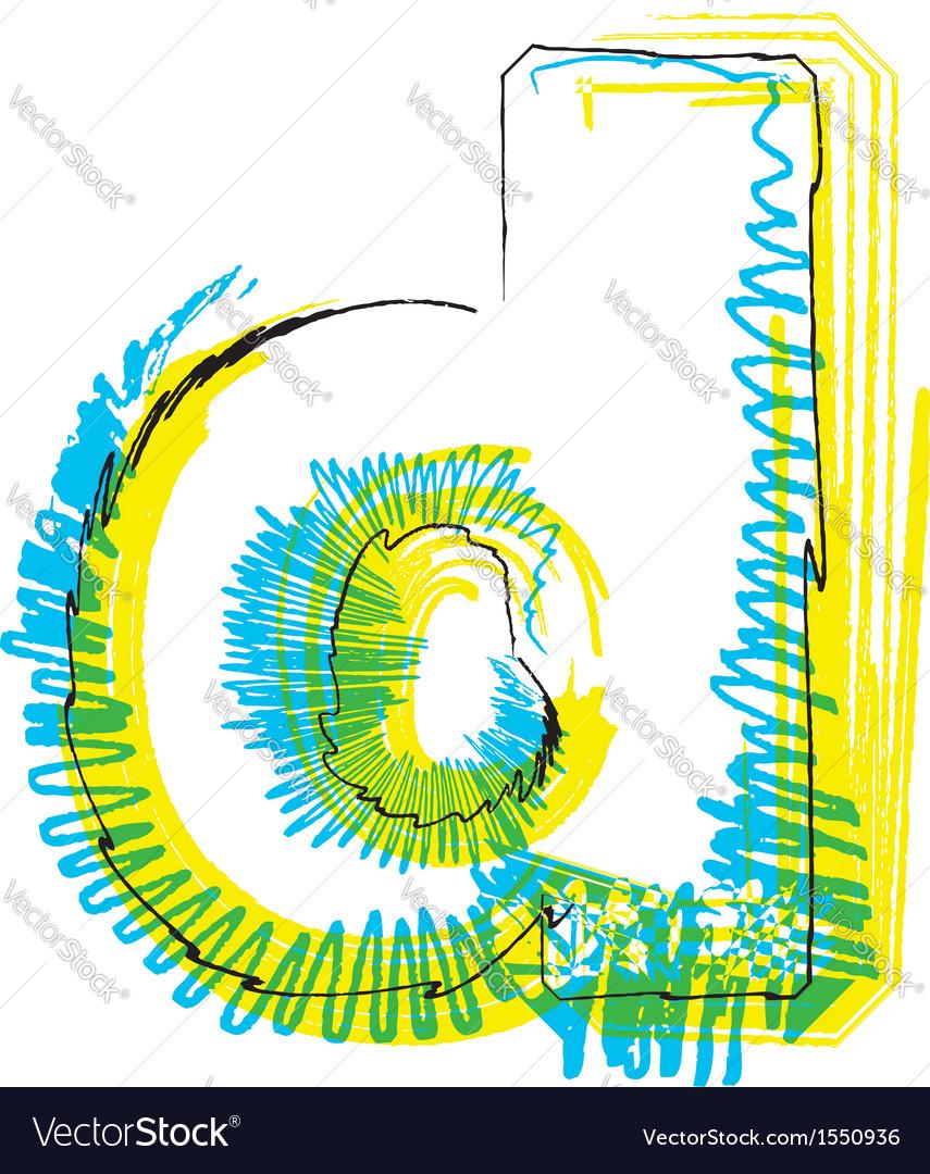 Sketch font letter d vector | Price: 1 Credit (USD $1)