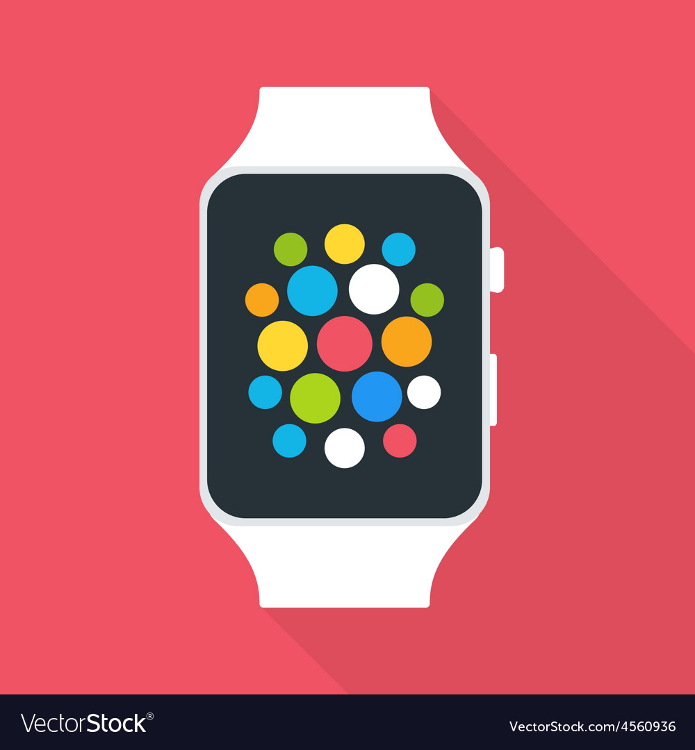 Smart watch flat stylized vector