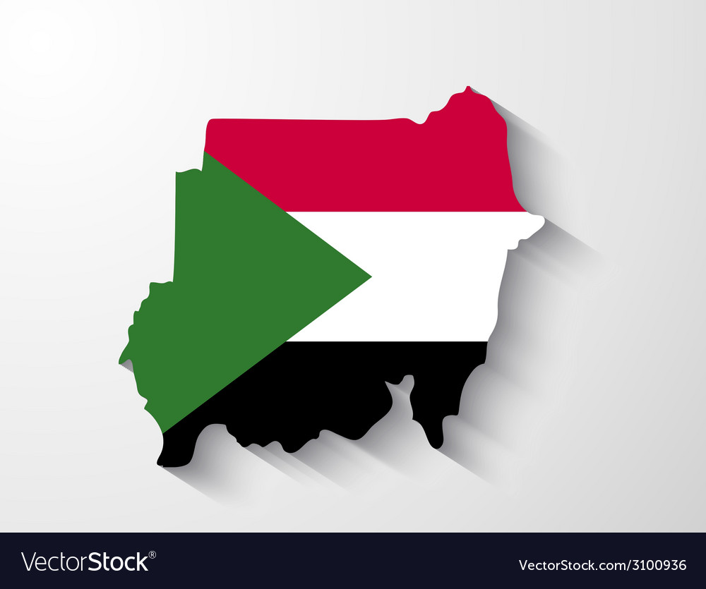 Sudan map with shadow effect vector | Price: 1 Credit (USD $1)