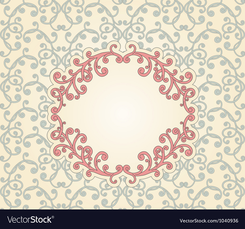 Vintage pattern with floral frame vector | Price: 1 Credit (USD $1)