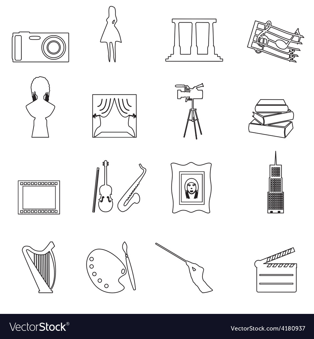 16 outline art icons set eps10 vector | Price: 1 Credit (USD $1)