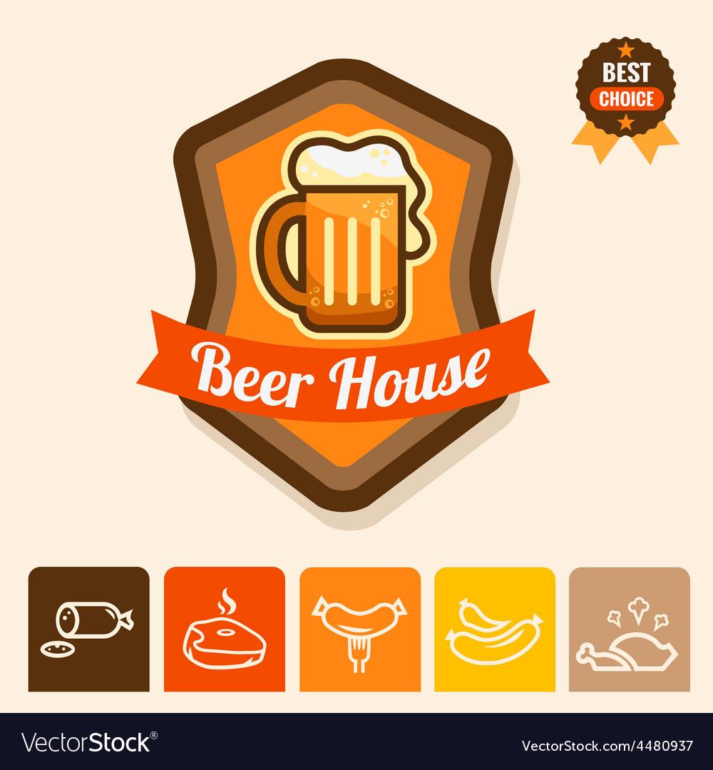 Beer house emblem vector | Price: 1 Credit (USD $1)