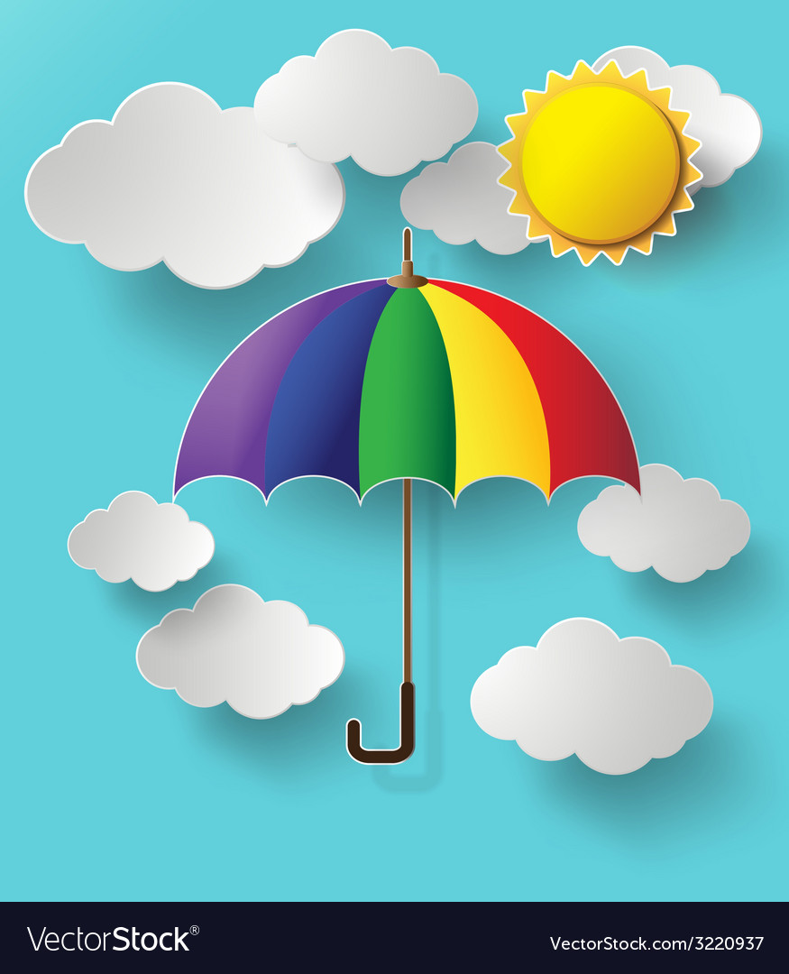 Colurful umbrella on sky vector | Price: 1 Credit (USD $1)