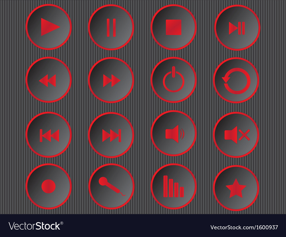 Cool multimedia buttons vector | Price: 1 Credit (USD $1)