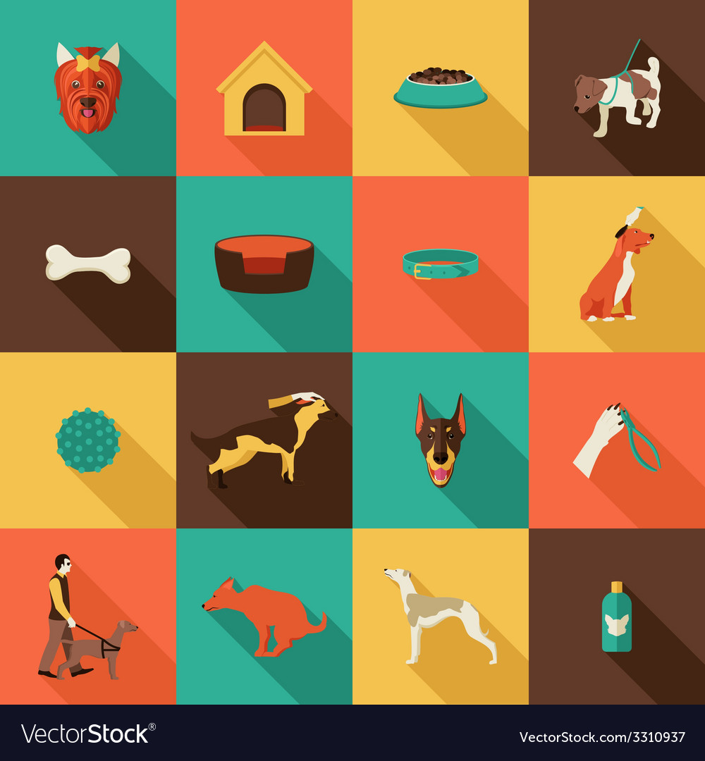 Dog icons flat vector   Price: 1 Credit (USD $1)