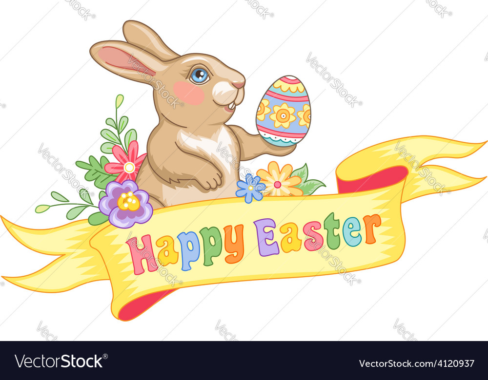 Easter rabbit ribbon vector | Price: 1 Credit (USD $1)