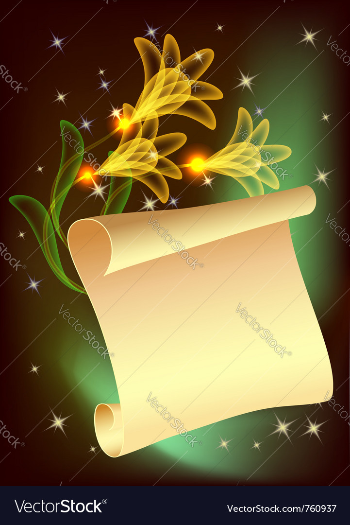 Flowers and parchment vector | Price: 1 Credit (USD $1)