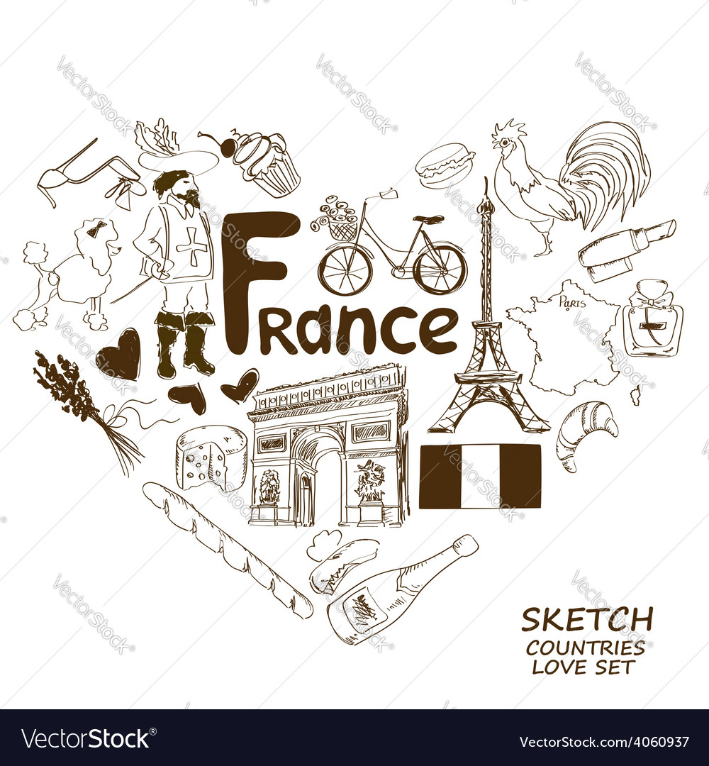 French symbols in heart shape concept vector | Price: 1 Credit (USD $1)
