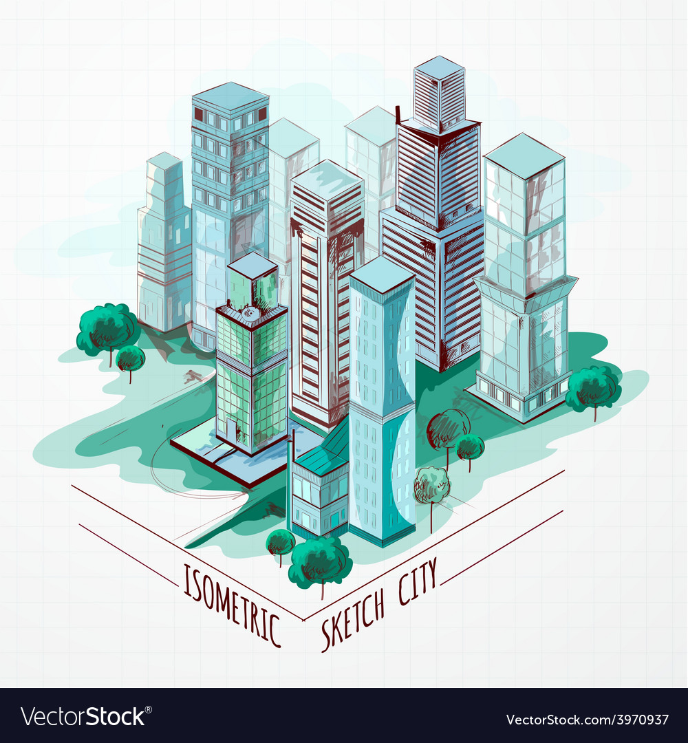Isometric sketch city colored vector   Price: 1 Credit (USD $1)