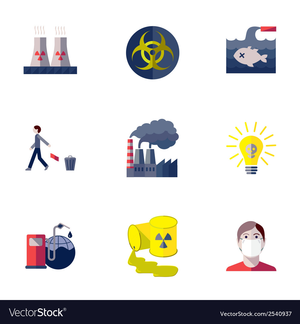 Pollution icons set vector | Price: 1 Credit (USD $1)