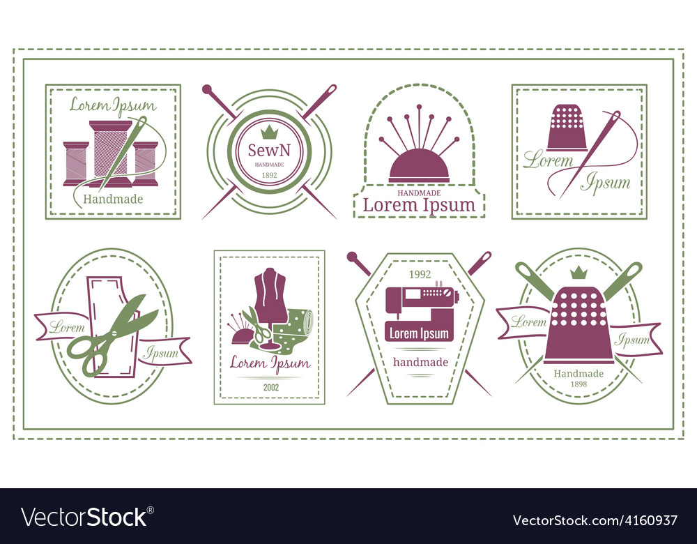 Retro tailor labels or needleworks emblems vector | Price: 1 Credit (USD $1)